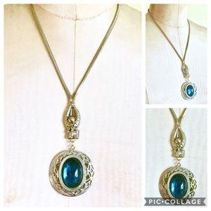 Blue Amulet Vintage Necklace Silver